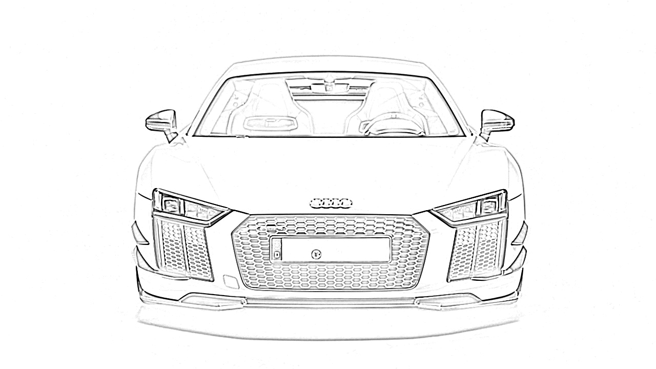 Sports car audi front view coloring page