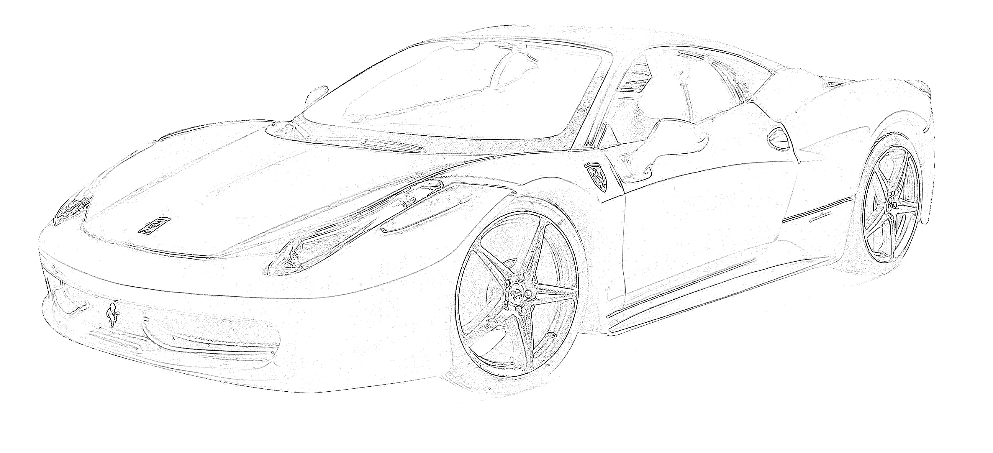 Sports car ferrari side coloring page