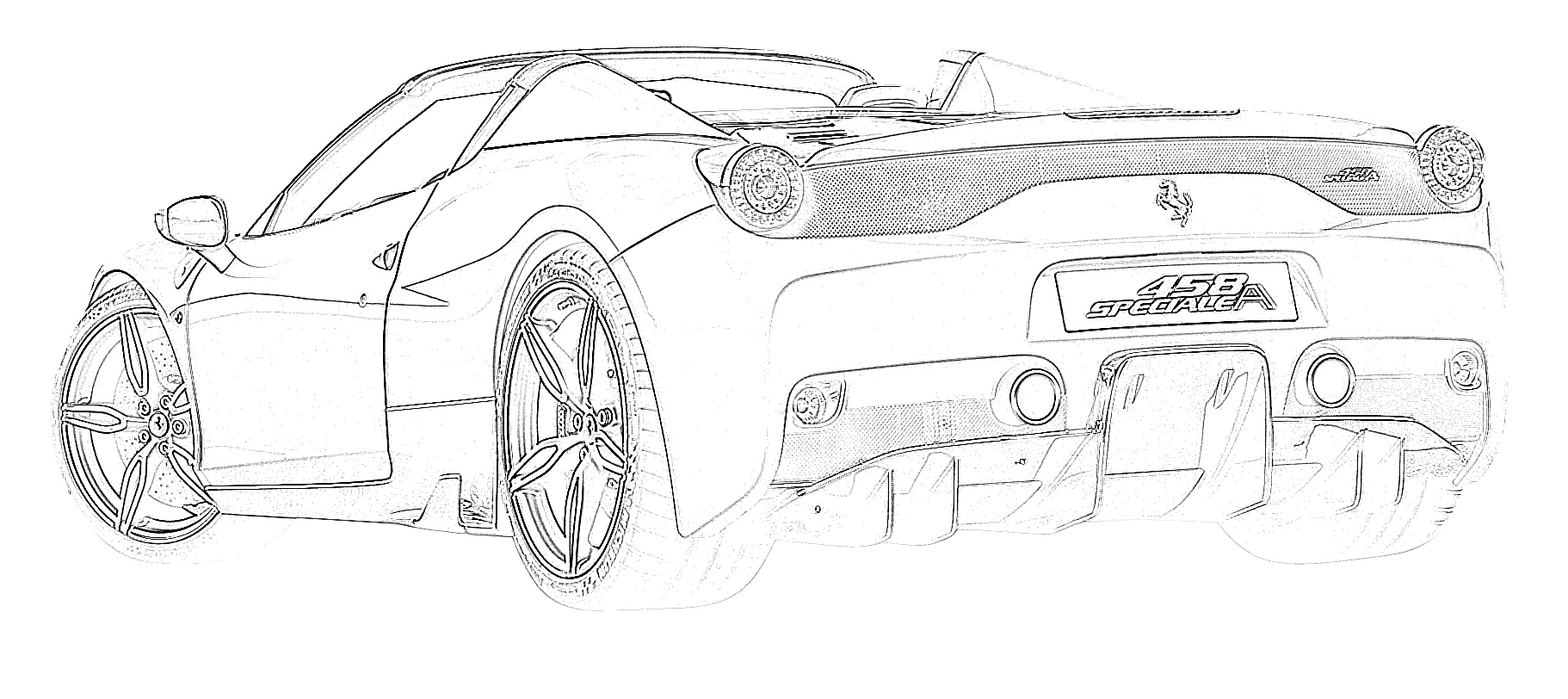 Sports car ferrari 458 coloring page
