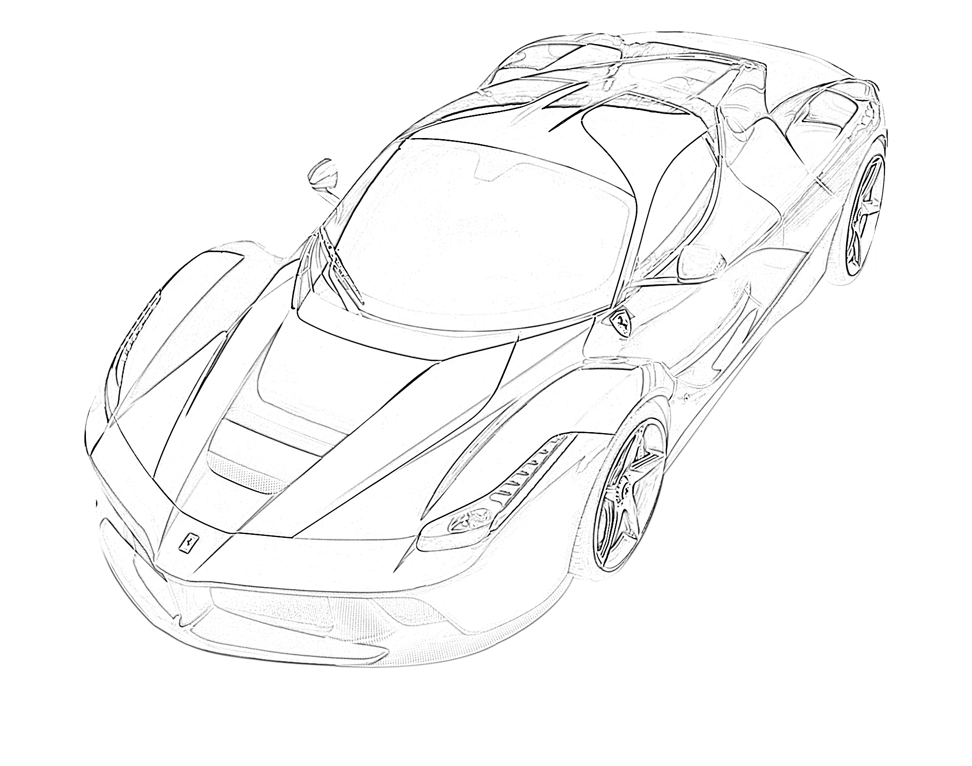 Sports car ferrari top down view coloring page