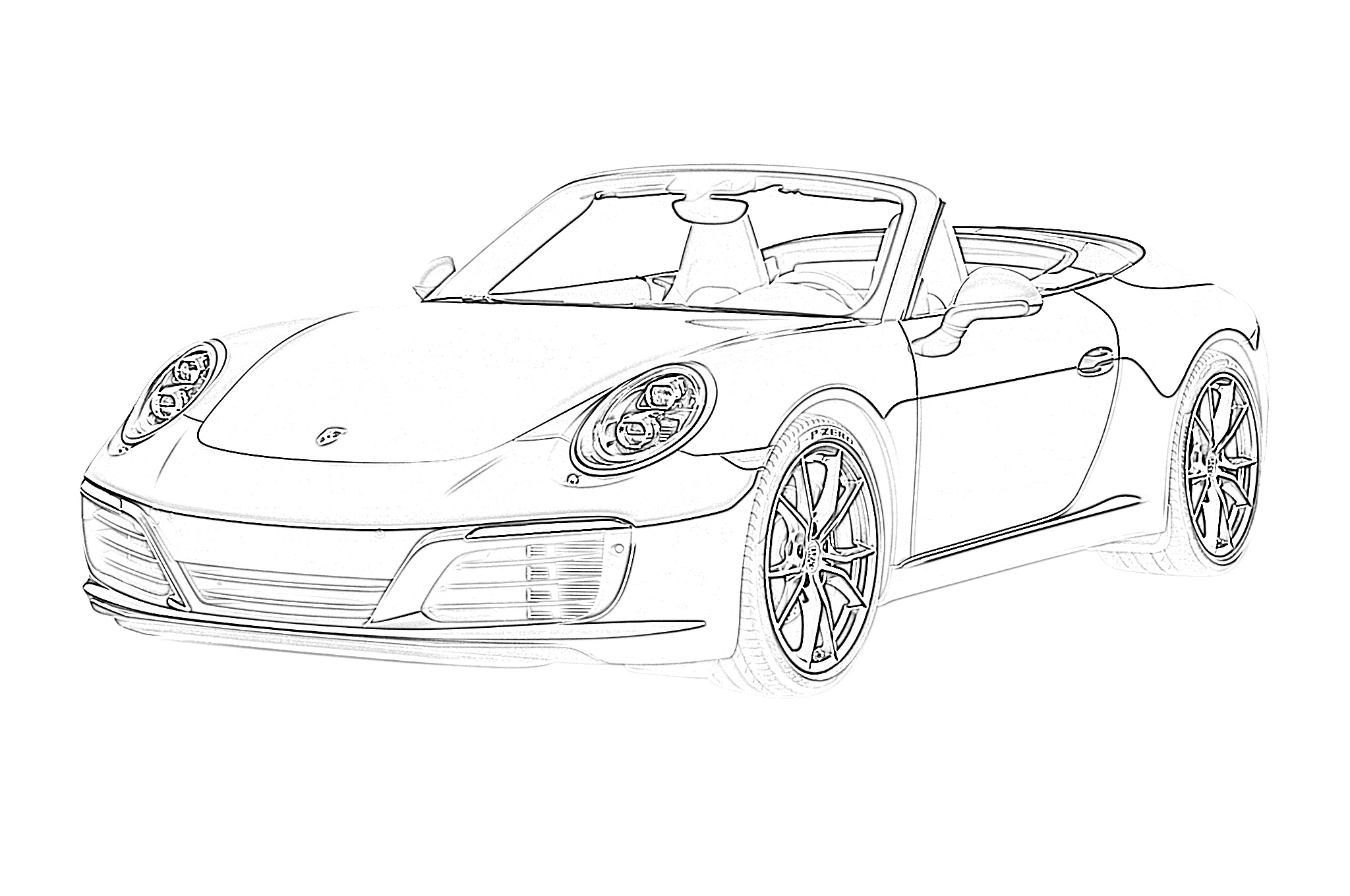 Sports car convertible porsche coloring page