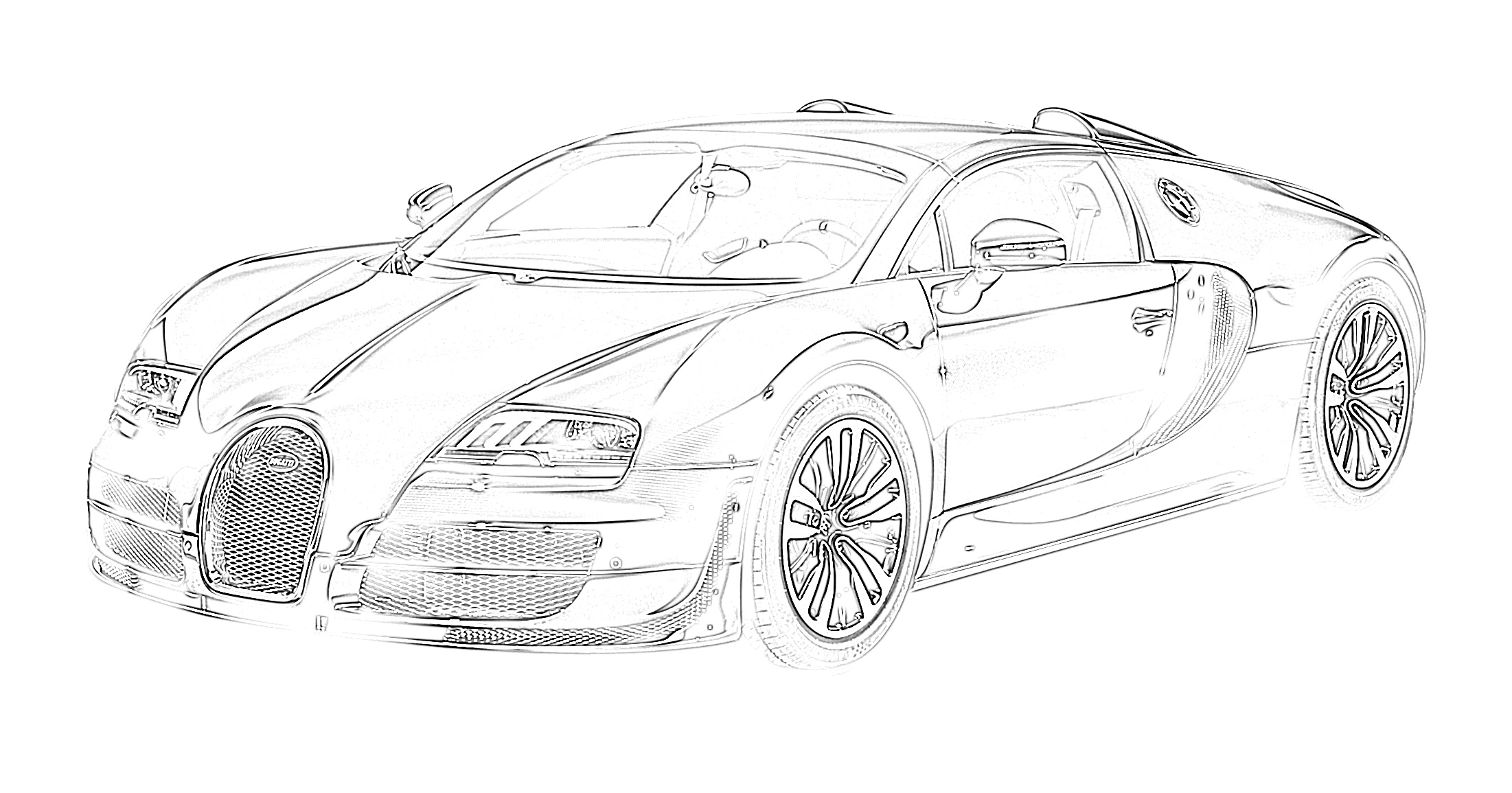 Sports car bugatti coloring page