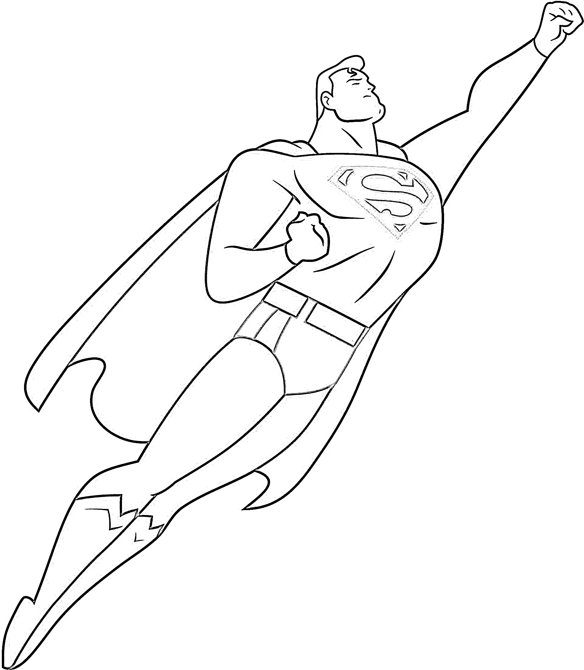 Superman pose coloring page
