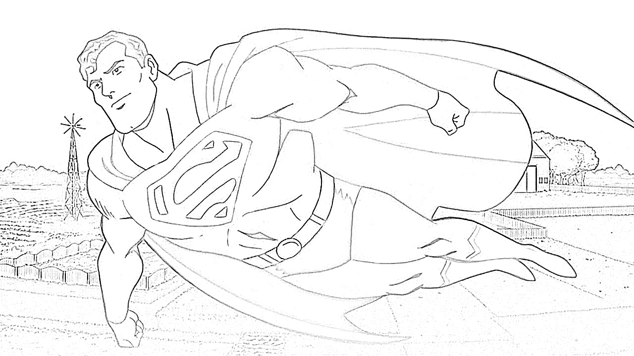 Superman in the sky coloring page