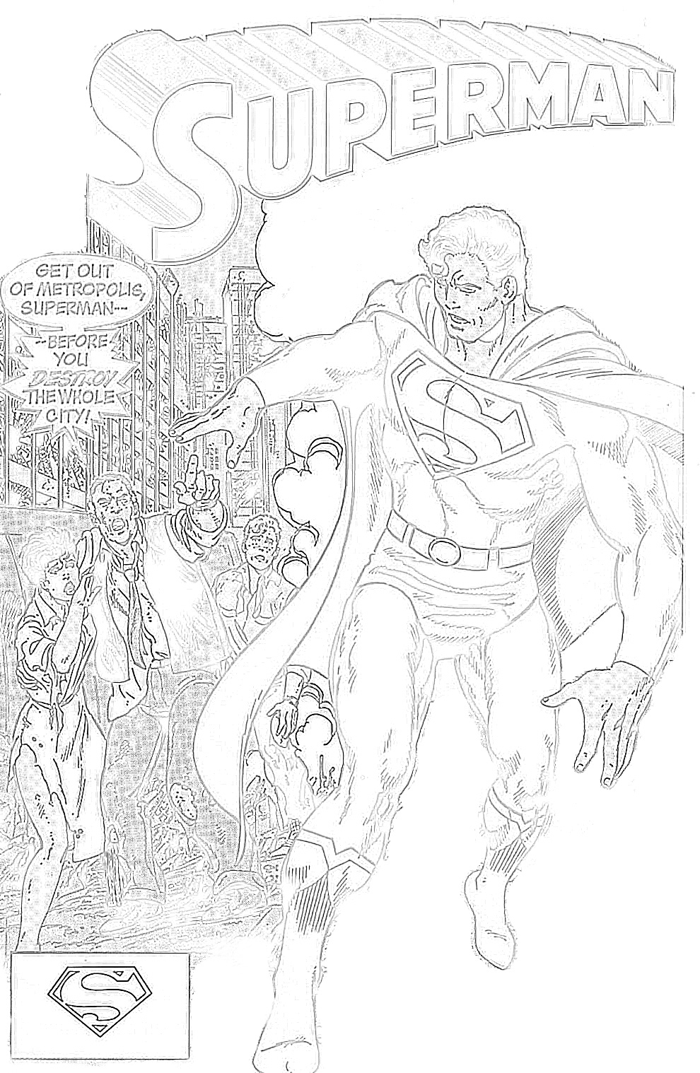 Superman fleeing city coloring page