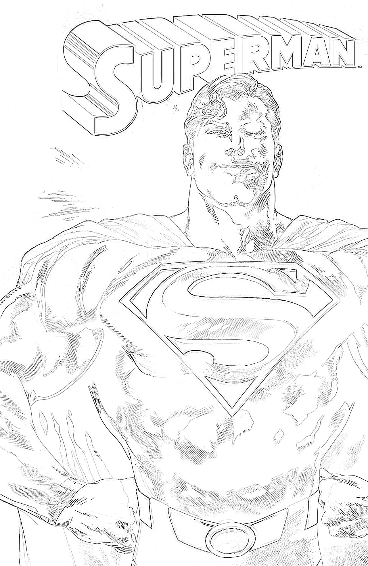 Superman standing proud coloring page