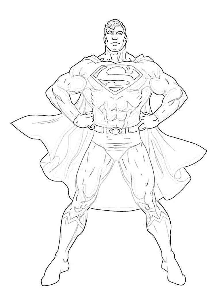 Superman posing hands on hips coloring page