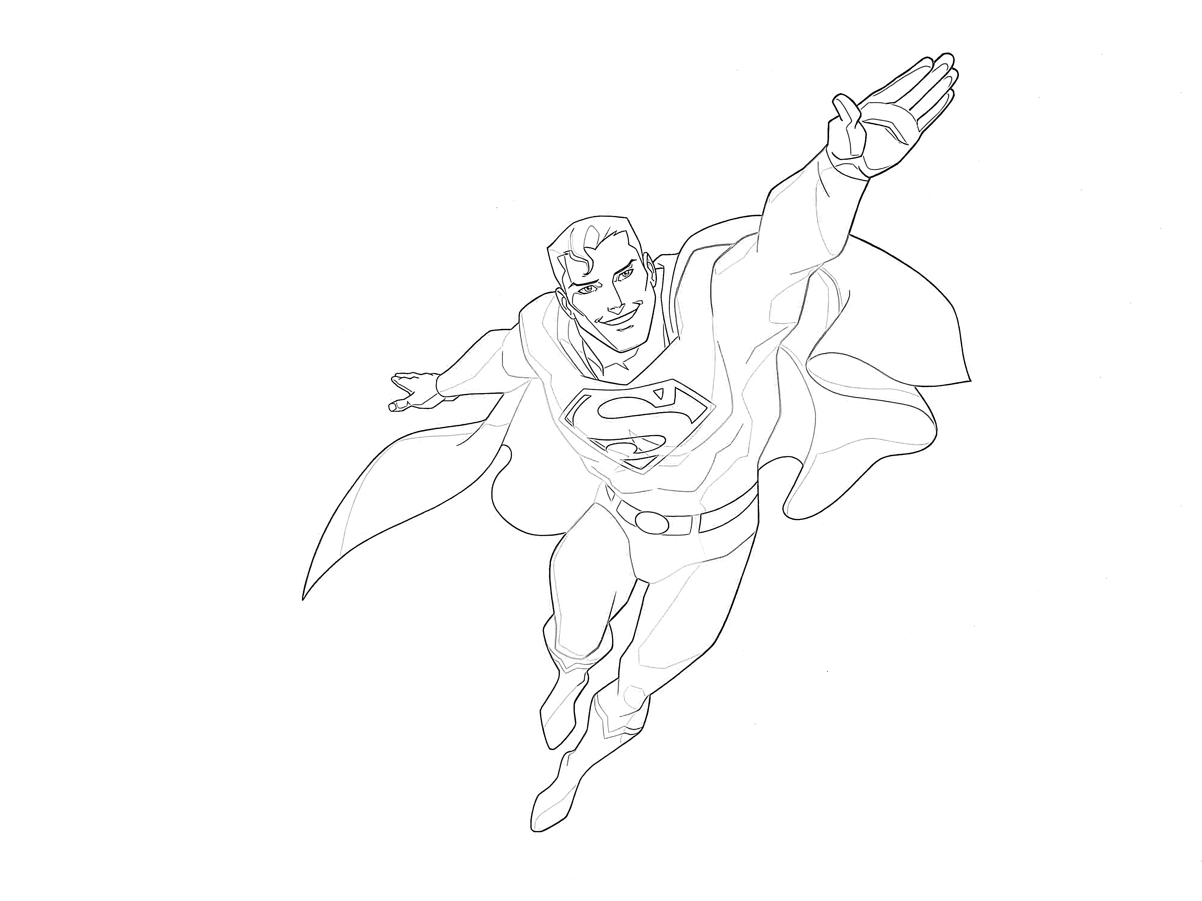 Superman flying coloring page