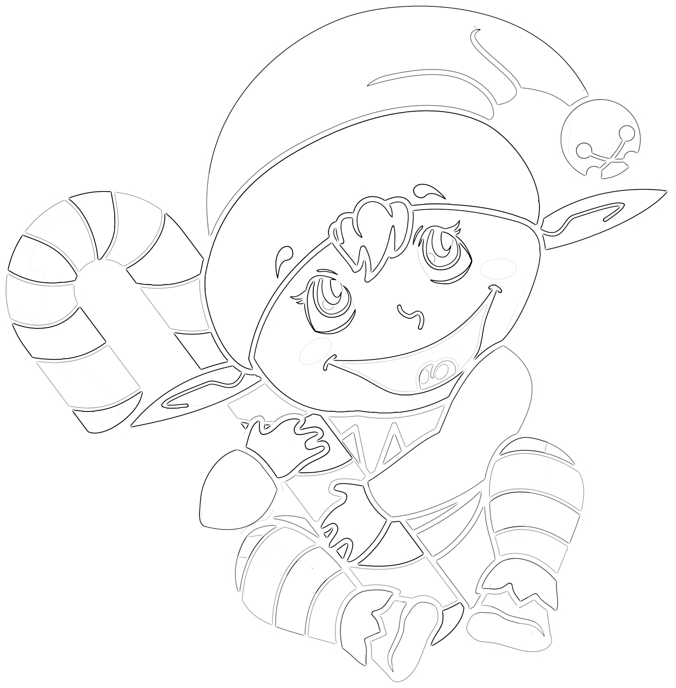 Tis' the Season Cute Elf Coloring Page