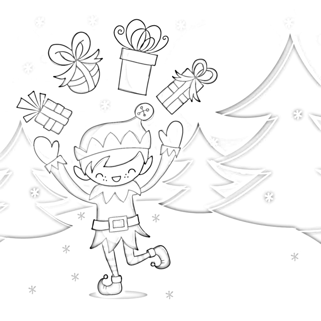 Tis' the Season Elf Juggling Gifts Coloring Page