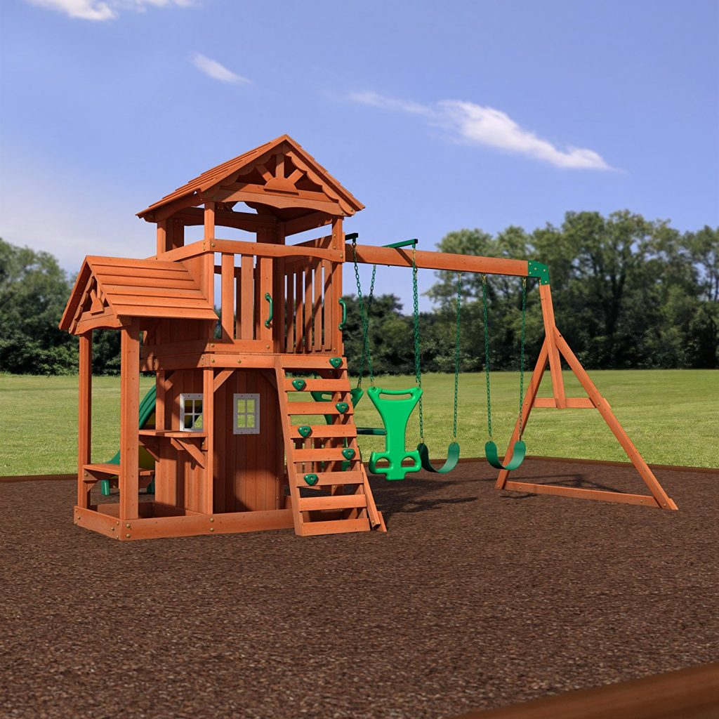 Backyard-Discovery-Tanglewood-All-Cedar-Wood-Playset-Swing-Set