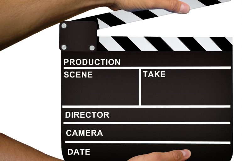 TV and movie production clapperboard
