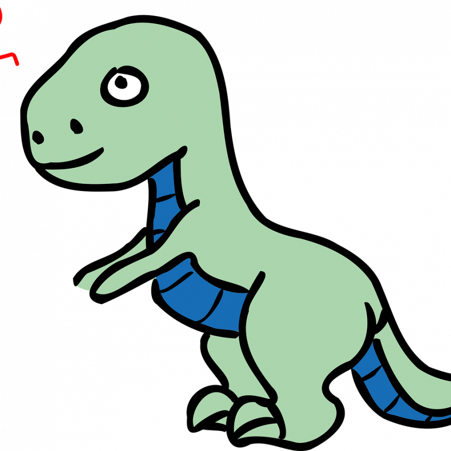 Alt Txt: Green and blue cartoon dinosaur