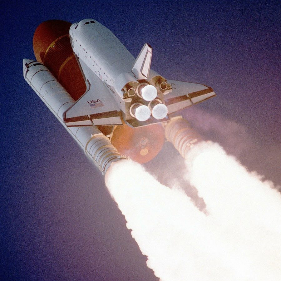 space shuttle on take off