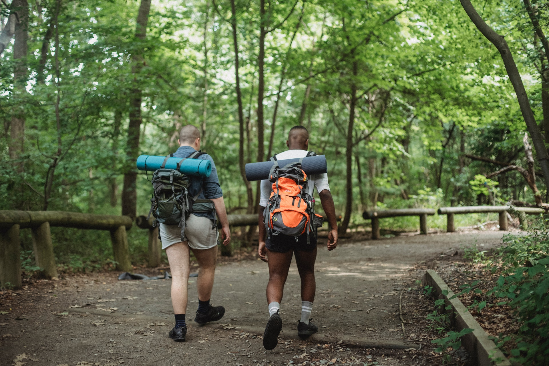 Two men hiking on trail