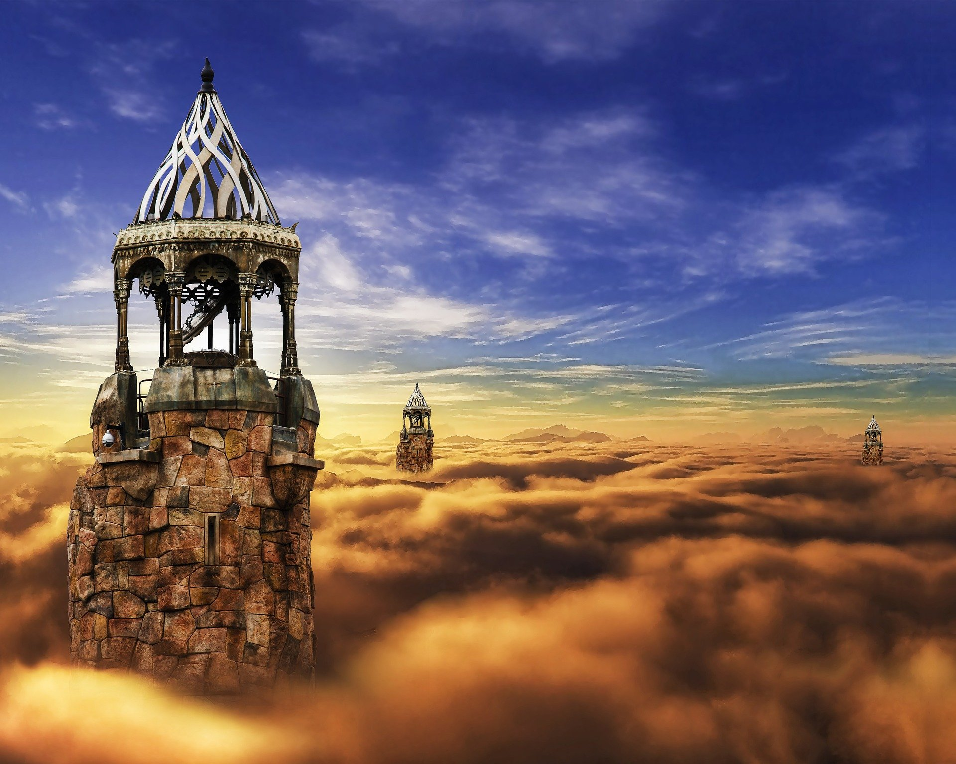 Fantasy landscape with towers