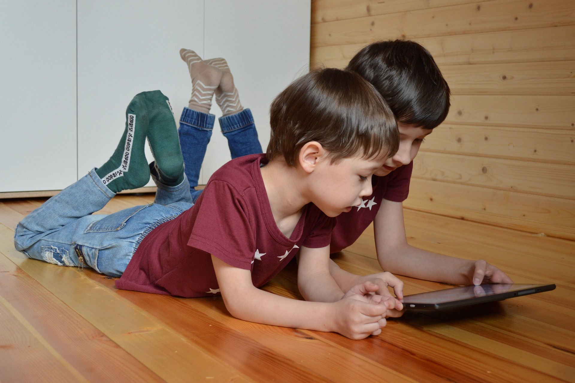 two boys with tablet