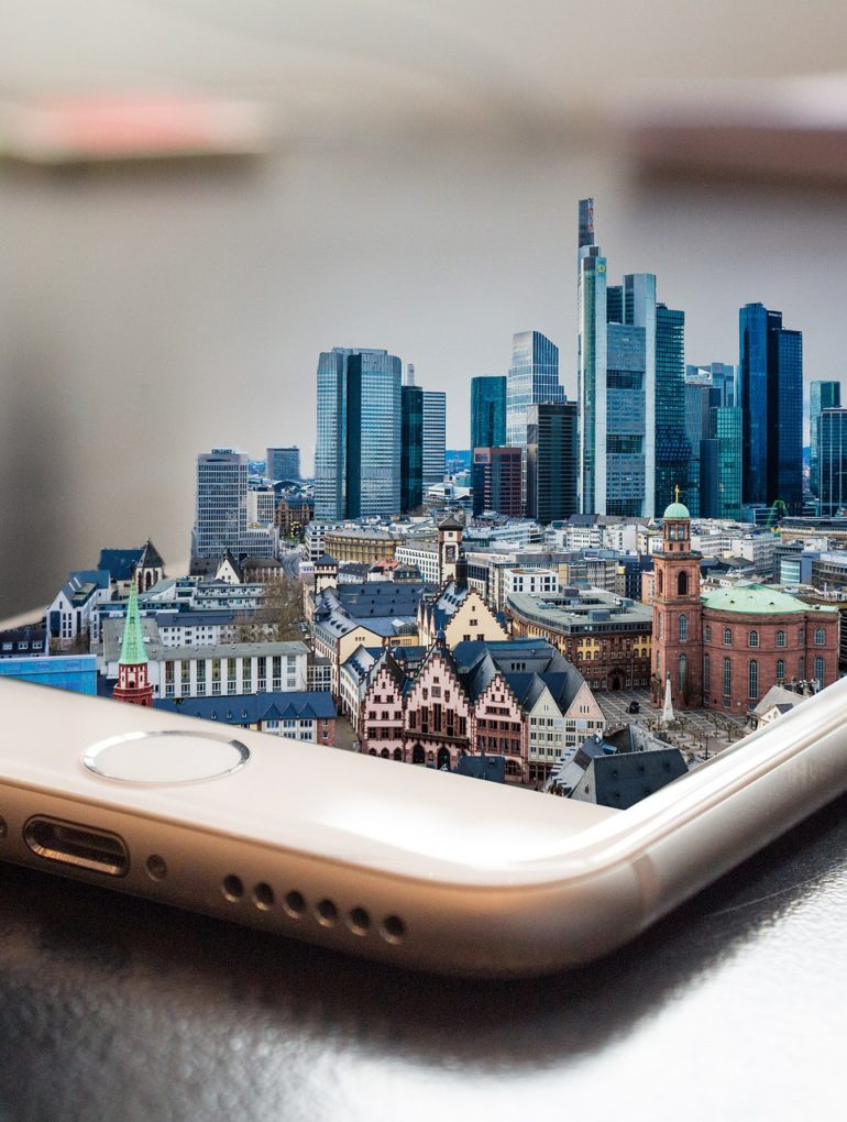 Virtual city rising from a cell phone