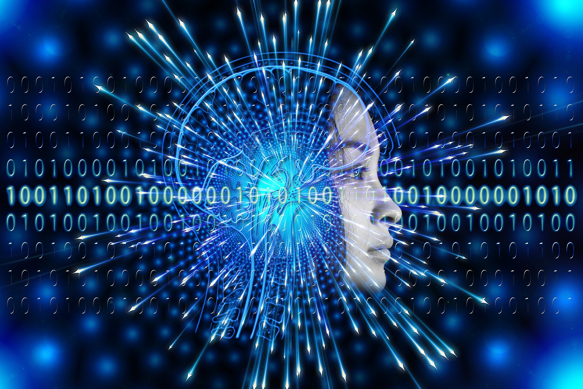 teen face with binary code pouring from it